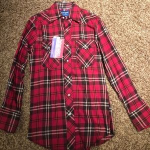 Wrangler Flannel Plaid Snap Button Up